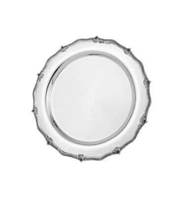 Topázio | Knots & Beads Round Tray Silver - Luxury Desk Accessories & Gifts | Buy Online | Orpheu Decor