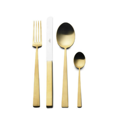 Cutipol | Bauhaus Cutlery Set 4 Pieces Gold - Designer Cutlery & Luxury Tableware | Buy Online | Orpheu Decor