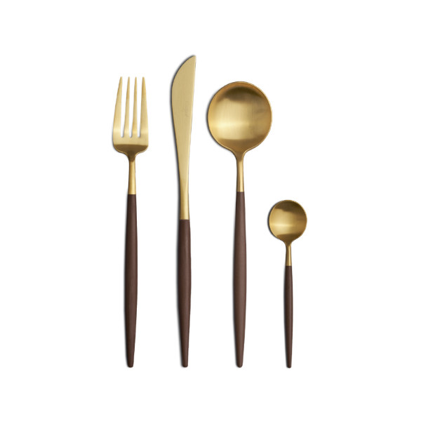 Cutipol | Goa Cutlery Set Matte Gold - Brown Handle | Buy Online | Orpheu Decor