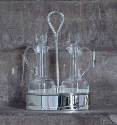 Topázio | Lines Cruet Stand Silver Plated - Silver Tableware & Luxury Dinnerware Sets | Buy Online | Orpheu Decor