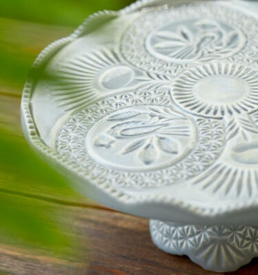 Costa Nova | Cristal Cake Stand Crackled Grey - Fine Stoneware | Buy Online | Orpheu Decor