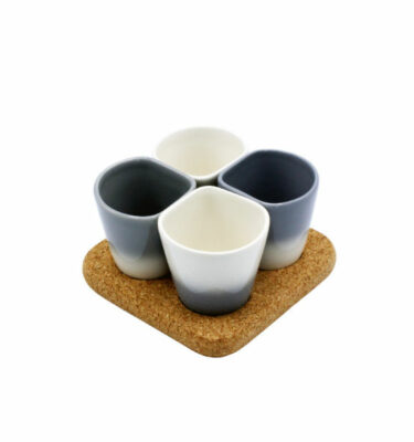 Dedal | 3.0 Coffee Cups - Grey - Mini Dessert Copus - Designer Tableware | Buy Online | Orpheu Decor