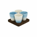 Dedal | 3.0 Coffee Cups Sky Blue Mat - Mini Dessert Copus - Designer Tableware | Buy Online | Orpheu Decor