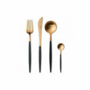 Cutipol | Goa Cutlery Set Matte Gold - Black Handle | Buy online | Orpheu Decor