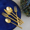 Cutipol | Rondo Cutlery Set, Matte Gold – Designer Cutlery & Luxury Tableware| Buy Online | Orpheu Decor