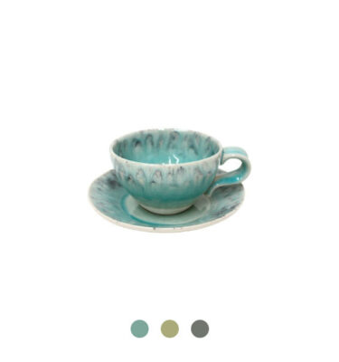 Costa Nova | Madeira Teacup & Saucer, 6 Sets - Fine Stoneware | Buy Online | Orpheu Decor