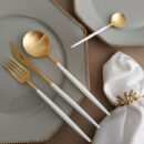 Cutipol | Goa Matte gold, White Handle | Dinner Fork; Dinner Knife; Table Spoon; Teaspoon | Buy Online | Orpheu Decor