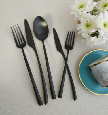 Cutipol | Mezzo Cutlery Set Matte Black – Designer Cutlery & Luxury Tableware| Buy Online | Orpheu Decor