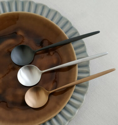 Cutipol | Moon Dessert Spoon | Matte Copper, Matte & Matte Black | Buy Online | Orpheu Decor