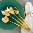 Cutipol | Moon Cutlery Set, Gold | Serving Spoon; Salad Serving Set; Carving Fork | Buy Online | Orpheu Decor