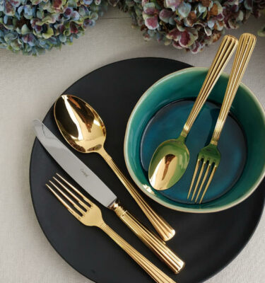 Cutipol | Athena Cutlery Set, Gold, 5 Pieces – Designer Cutlery & Luxury Tableware| Buy Online | Orpheu Decor