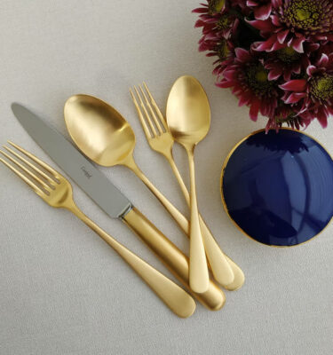 Cutipol | Atlantico Cutlery Set, Matte Gold, 5 Pieces – Designer Cutlery & Luxury Tableware| Buy Online | Orpheu Decor