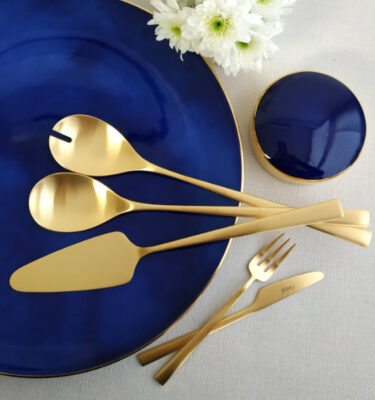 Cutipol | Duna, Matte Gold | Cake Server, Salad Serving Set; Pastry Fork; Butter Knife | Buy Online | Orpheu Decor