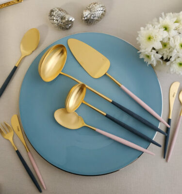 Cutipol | Goa Cutlery Set Matte Gold, Blue & Pink Handle | Gourmet Spoon, Gravy Ladle; Soup Ladle; Cake Server; Butter knife, Oyster Fork | Buy Online | Orpheu Decor