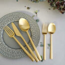 Cutipol | Rondo, Matte Gold | Dinner Fork; Dinner knife; Dinner Spoon; Dessert Fork; Dessert Spoon | Buy online | Orpheu Decor