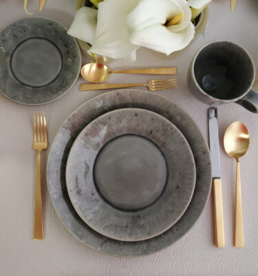 Costa Nova & Cutipol | Madeira Dinnerware Set, Grey & Bauhaus Matte Gold | Buy Online | Portugal | Orpheu Decor