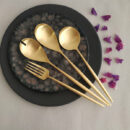 Cutipol | Moon, Matte Gold | Carving Fork; Salad Serving Set; Serving Spoon | Buy Online | Orpheu Decor