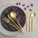 Cutipol | Moon, Matte Gold | Dinner Fork, Knife; Spoon & Dessert Fork, Knife & Spoon | Buy Online | Portugal | Orpheu Decor