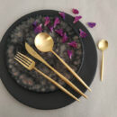 Cutipol | Moon Cutlery Set, Matte Gold | Dessert Fork, Spoon, Fork; Dinner Fork, Knife; Table Spoon | Buy Online | Orpheu Decor
