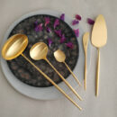 Cutipol | Moon, Matte Gold | Soup Ladle, Gravy Ladle; Sugar Spoon; Butter Knife; Cake Server | Buy Online | Orpheu Decor