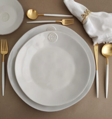 Costa Nova | Nova Dinnerware Set & Goa Matte Gold, White Handle | Buy Online | Portugal | Orpheu Decor