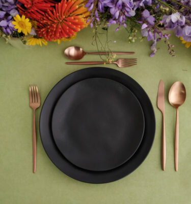 Costa Nova & Cutipol | Riviera Dinnerware Set, Black & Solo Matte Copper | Buy Online | Portugal | Orpheu Decor