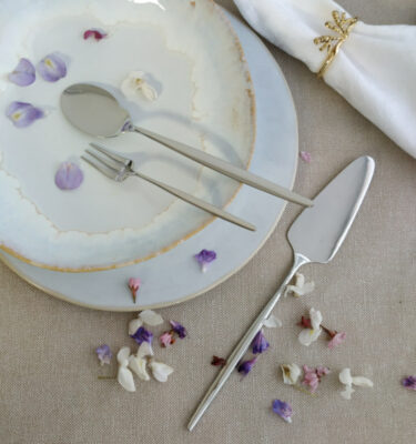 Cutipol | Solo, Polished Steel | Pastry Fork; Gourmet Spoon, Cake Server | Buy Online | Orpheu Decor