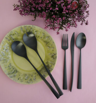 Cutipol | Duna Matte Black, Salad Serving Set; Dinner Fork; Dinner Knife; Table Spoon | Buy Online | Portugal | Orpheu Decor