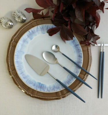 Cutipol | Goa Matte, Blue Handle | Cake Server; Gourmet Spoon; Long Drink Spoon; Chopstick | Buy Online | Portugal | Orpheu Decor