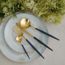 Cutipol | Goa Matte Gold, Blue Handle - Dinner Fork, Dinner Knife, Table Spoon, Teaspoon | Buy Online | Orpheu Decor