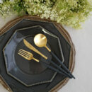 Cutipol | Goa Cutlery Set Matte Gold, Black Handle - Dinner Fork, Dinner Knife, Table Spoon | Buy Online | Orpheu Decor