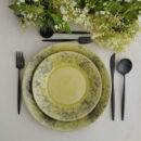 Costa Nova & Cutipol | Madeira Lemon Green Plates & Moon Cultery Set, Matte Black | Buy Online | Orpheu Decor