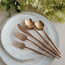 Cutipol | Moon Copper Cutlery Set - Dinner Fork, Dinner Knife, Table Spoon, Dessert Fork, Dessert Spoon | Buy Online | Orpheu Decor