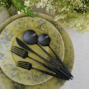 Cutipol | Moon, Matte Black - Cutlery Set - Dinner Fork, Dinner Knife, table Spoon, Dessert Fork, Dessert Knife | Buy Online | Orpheu Decor