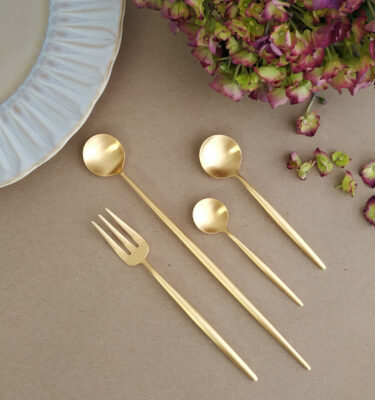 Cutipol | Moon, Matte Gold - Pastry Fork, Long Drink Spoon, Coffee Spoon, Teaspoon - Buy Online | Orpheu Decor