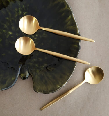 Cutipol | Moon Teaspoon, Matte Gold | Buy Online | Portugal | Orpheu Decor