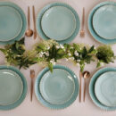 Costa Nova & Cutipol | Pearl Aqua Plates & Moon Copper Cutlery | Buy Online | Orpheu Decor