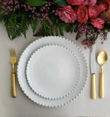 Costa Nova & Cutipol | Pearl White, Dinner and Salad Plates & Line Matte Gold - Dinner Fork, Dinner Knife, Table Spoon | Buy Online | Portugal | Orpheu Decor