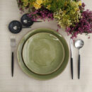Costa Nova | Riviera Vert Frais, Dinner and Salad Plates & Goa Matte, Black Handle - Dinner Fork, Dinner Knife, Table Spoon, Coffee Spoon | Buy Online | Orpheu Decor