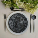 Costa Nova & Cutipol | Roda Plates & Moon Cutlery, Matte Black | Buy Online | Orpheu Decor