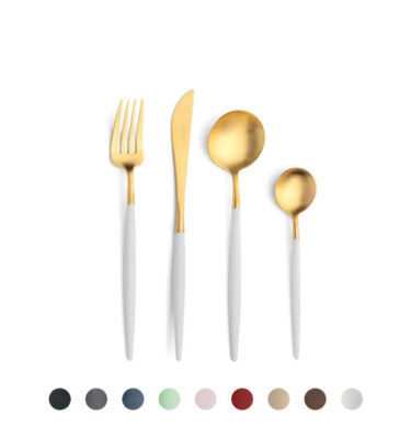 Cutipol | Goa Cutlery Set, Matte Gold – Black, Grey, Blue, Celadon, Pink, Red, Ivory, Brown, White Handle | Buy Online | Orpheu Decor