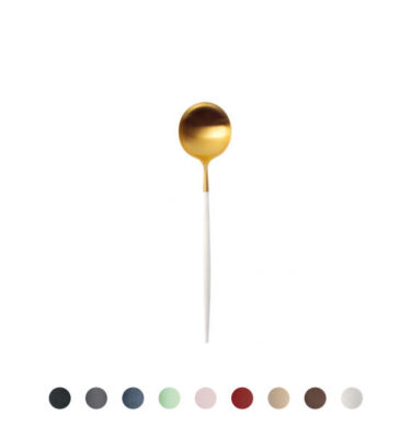 Cutipol | Goa Table Spoon, Matte Gold – Black, Grey, Blue, Celadon, Pink, Red, Ivory, Brown, White Handle | Buy Online | Orpheu Decor