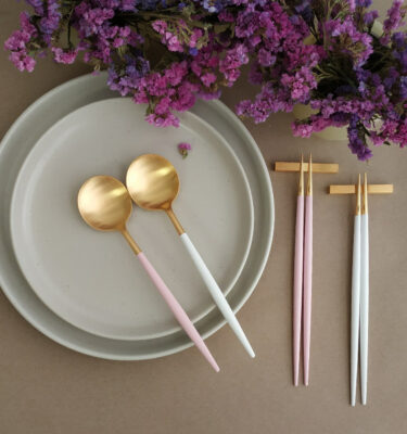 Cutipol | Goa Matte Gold, WHite & Pink Handle - Table Spoon, Chopstick - Buy Online | Orpheu Decor