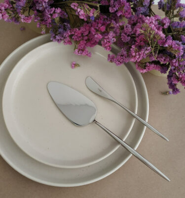 Cutipol | Moon, Polished Steel - Cake Server, Butter Knife |- Buy Online | Orpheu Decor