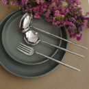 Cutipol | Moon, Polished Steel - Soup Ladle, Carving Fork, Serving Spoon - Buy Online | Orpheu Decor
