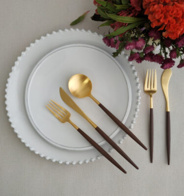 Buy Cutipol Goa Matte Gold, Brown Handle - Dinner Fork, Knife, Table Spoon, Fish Fork, Knife - Orpheu Decor