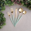 Buy Cutipol Goa Matte Gold, Celadon Handle - Dinner Fork, Knife, Table Spoon, Dessert Fork, Knife - Orpheu Decor