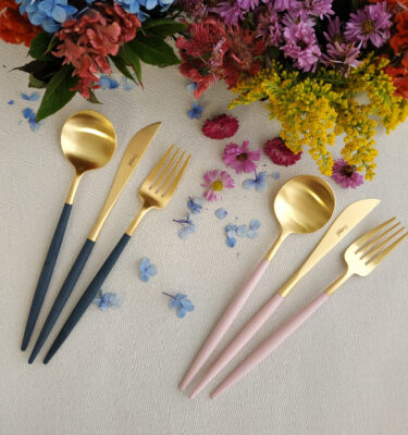 Buy Cutipol Goa Matte Gold, Blue & Pink Handle - Dinner Knife, Fork, Table Spoon - Orpheu Decor