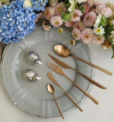 Buy Cutipol Icon, Matte Copper - Dinner Fork, Knife, Table Spoon, Butter knife, Teaspoon - Orpheu Decor