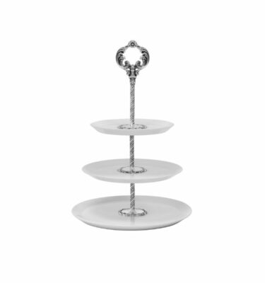 Rose 3 Tier Cake Stand, Silver Plated by Topázio? Buy at Orpheu Decor!